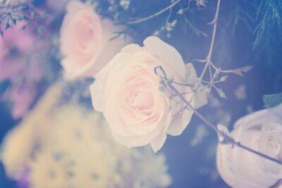 Quadro Vintage rose bouquet di fiori sfondo morbido
