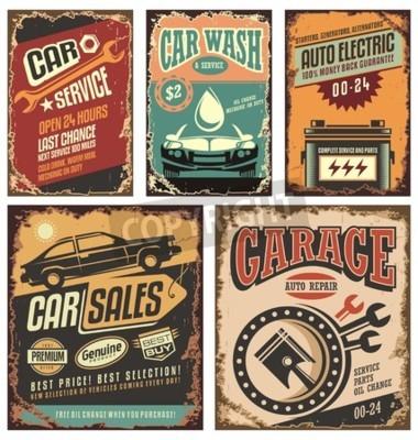 Quadro Vintage segni metallici servizio auto e manifesti