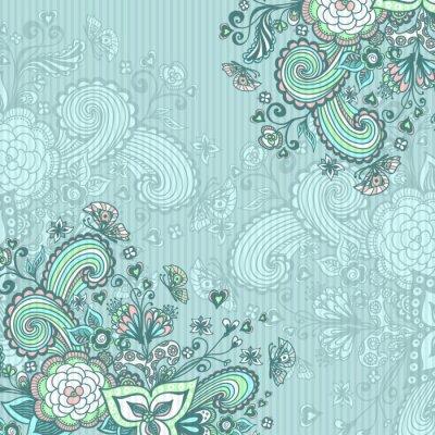 Quadro Vintage sfondo con fiori doodle in blu