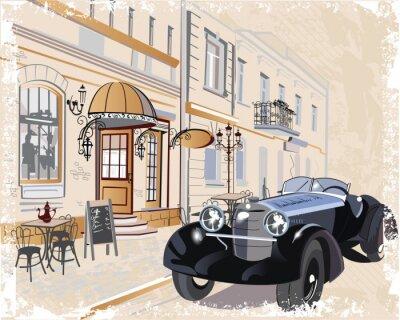 Quadro Vintage sfondo con una macchina e musicisti retrò, vista sul centro storico.