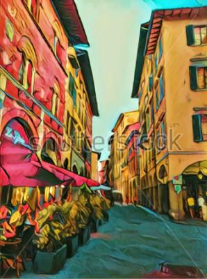 Quadro Vintage stradina italiana a Firenze. Tradizionale vecchia architettura d'Italia. Pittura a olio di grande formato fine art. Impressionismo moderno disegnato artwork. Stampa artistica creativa per