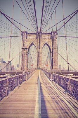 Quadro Vintage tonica foto del Ponte di Brooklyn, New York, Stati Uniti d'America.