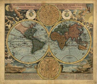 Quadro Vintage World map
