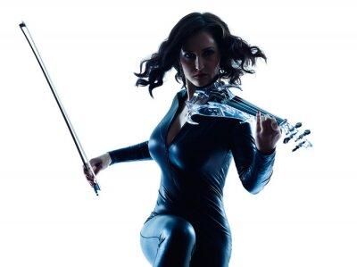 Quadro Violinista donna slihouette isolato