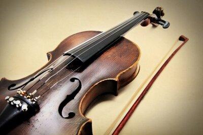 Quadro Violino classico su carta grunge.