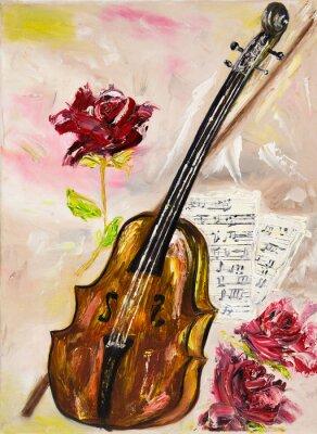 Quadro Violino e rose