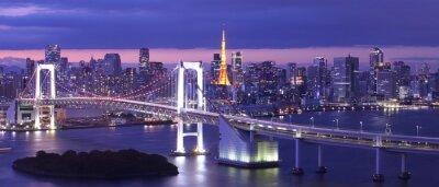 Quadro vista della baia di Tokyo, il ponte Arcobaleno e Torre di Tokyo punto di riferimento