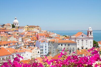 Quadro vista di Alfama, Lisbona, Portogallo