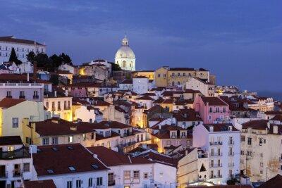 Quadro Vista sulla Città Vecchia di Lisbona in Portogallo