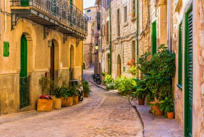 Quadro Visualizzazione di una strada romantica di un vecchio villaggio mediterraneo in Spagna