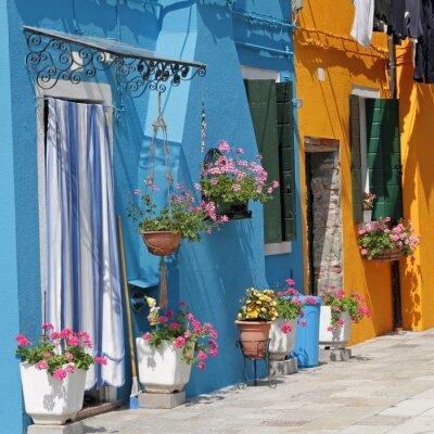 Quadro vivaci case dipinte nel villaggio di Burano, Venezia