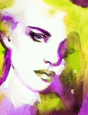 Quadro Volto di donna. Dipinti a mano illustrazione di moda