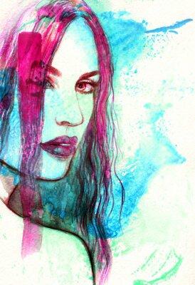 Quadro Volto di donna. Illustrazione astratta dell'acquerello