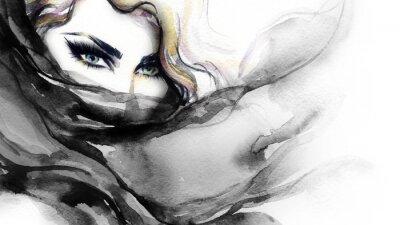 Quadro Volto di donna. Illustrazione di moda. pittura ad acquerello