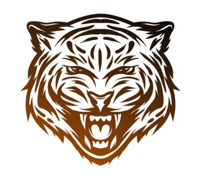 Quadro volto tigre aggressiva. stile art linea.