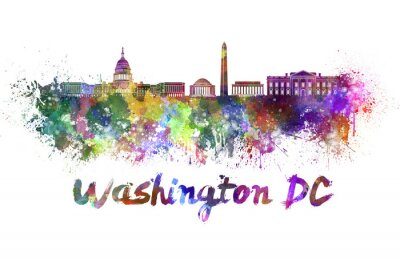 Quadro Washington DC skyline in acquerello