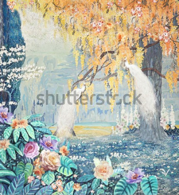 Quadro Watercolor hand-painted landscape rose peacock yellow tree