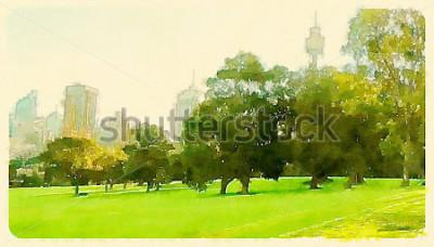 Quadro watercolor illustration sydney central park