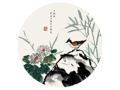 Quadro Watercolor ink paint art vector texture illustration bird on a rock and chrysanthemum flower bamboo. Translation for the Chinese word : Blessing