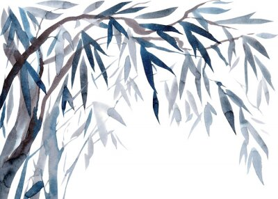 Quadro Watercolor Leaves and tree branches,   Traditional Japanese ink painting sumi-e.