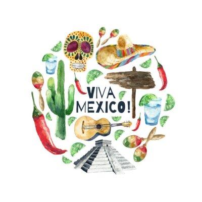 Quadro Watercolor mexico icons.