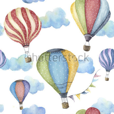 Quadro Watercolor pattern with cartoon hot air balloon. Transport ornament with flag garlands and clouds isolated on white background