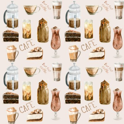 Quadro Watercolor seamless pattern with illustrations of coffee cup, coffee beans, coffee grinder, cappuccino, latte and desserts