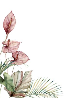Quadro Watercolor tropic card with anthurium and palm leaves. Hand painted frame with flowers and plant isolated on white background. Floral illustration for design, print, background. Invitation template.