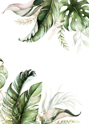 Quadro Watercolor tropical floral border - green, blush & gold leaves. For wedding stationary, greetings, wallpapers, fashion, background.