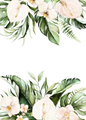 Quadro Watercolor tropical floral border - green, blush leaves & flowers . For wedding stationary, greetings, wallpapers, fashion, background.