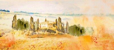 Quadro Watercolor Tuscany. Countryside landscape