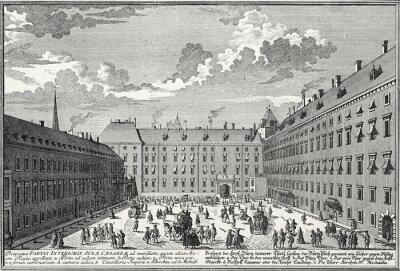 Quadro Wien, Innerer Burghof um 1725, Kupferstichvorlage