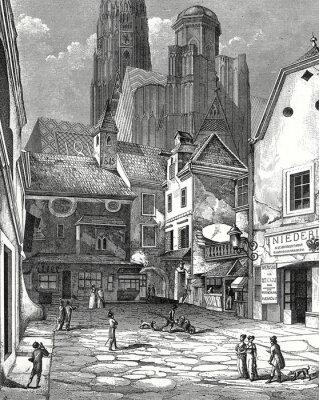 Quadro Wien, Zwettlhof mit Stephansdom um 1842, Kupferstichvorlage