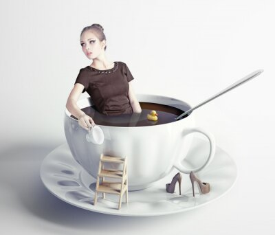 Quadro woman  in cup of coffee
