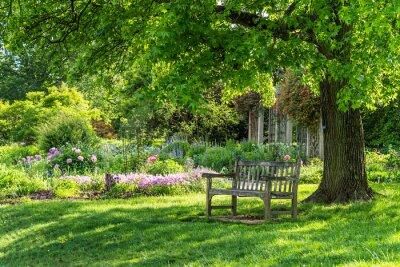 Quadro wooden bench at flower garden park