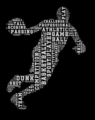 Quadro word cloud Giocatore di basket, basket tipografia fondo