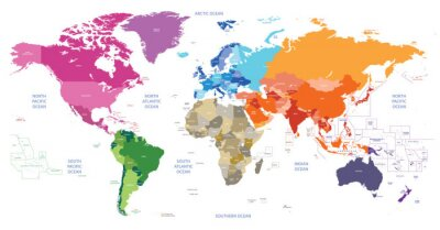 Quadro world political map colored by continents