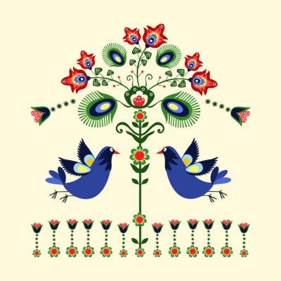 Quadro Wzór haftu z ptakami