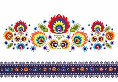 Quadro wzór Ludowy z kwiatami