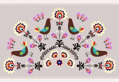 Quadro Wzór z ptakami