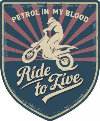 Quadro Мотоциклист, Ездить, чтобы жить, бизин в моей крови, мотоцикл, Мотокросс, нашивка, иллюстрация