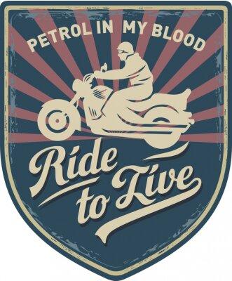 Quadro Мотоциклист, Ездить, чтобы жить, бизин в моей крови, мотоцикл, Спорт, нашивка, иллюстрация
