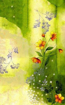 Quadro 수채화 배경 위에 그려진 수선화 줄기 와 싸리 꽃