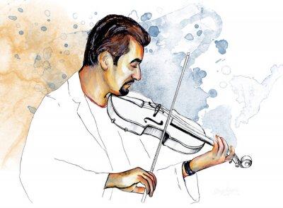 Quadro Рисунок-иллюстрация ,, Музыкант играет на скрипке ,,.
