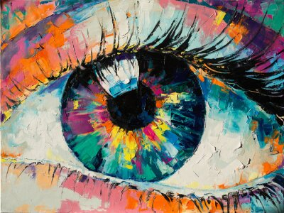 """Quadro """"Fluorite"""" - oil painting. Conceptual abstract picture of the eye. Oil painting in colorful colors. Conceptual abstract closeup of an oil painting and palette knife on canvas."""