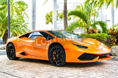 Quadro Miami, Florida, USA-19 febbraio 2016: Supercar Lamborghini Aventador colore arancione parcheggiata accanto a Ocean drive a South bech a Miami, in Florida. Lamborghini è famosa auto di marca costosa