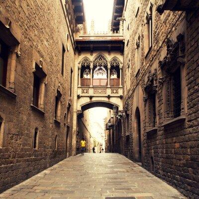 Quadro Strada gotico con arco a Barcellona, vicino al Duomo.