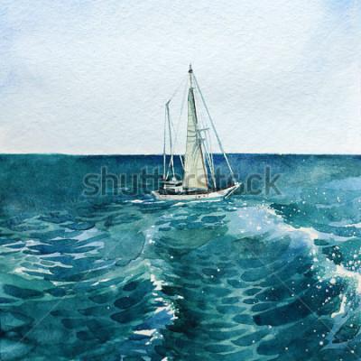 Quadro yacht. nave. mare. acquerello. questa immagine può essere usata come sfondo, come oggetto indipendente, come decorazione, in cartoline, carta da parati, stampa