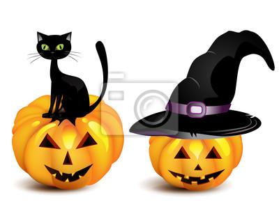 Zucca Halloween Gatto.Quadro Zucca Di Halloween Nel Cappello Strega E Gatto Nero